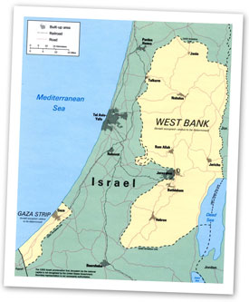 Map of Gaza, the West Bank, and Jerusalem