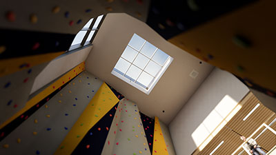 rock-climbing wall at the Student Activity Center