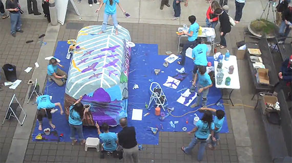 George Fox art students paint car in one hour