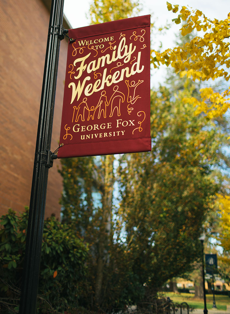 Family Weekend banner on campus