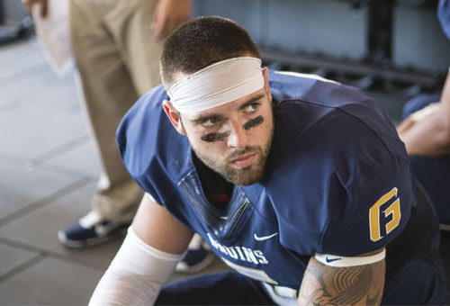 Justin Leatherman gets mentally prepared for his first game as a Bruin. Later, the junior safety would become the first George Fox player to earn a spot on the D3football.com National Team of the Week.