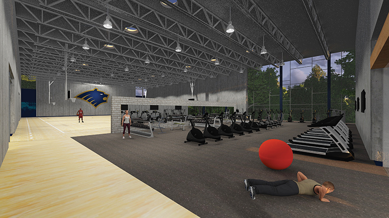 Rendering of the interior of the new Student Activity Center