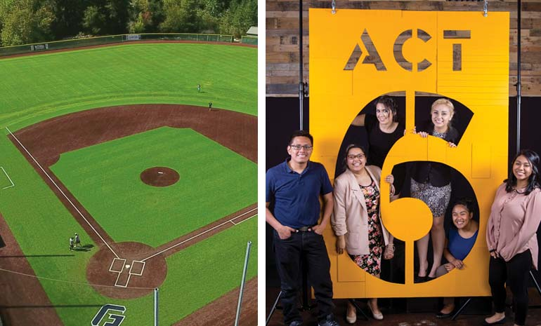 Baseball field and the Act-Six students